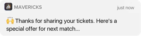 Notification: Thanks for sharing your tickets!